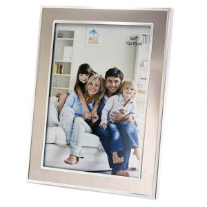 "Contemporary Nickel Plated 5"" x 7"" Single Picture Frame for Table or Wall"
