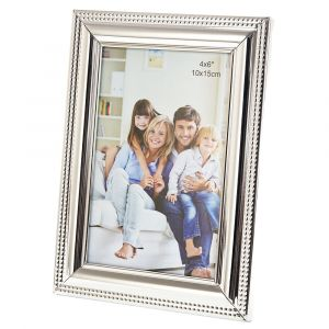 "Contemporary Designer Polished Nickel Plated 4"" x 6"" Single Picture Frame"