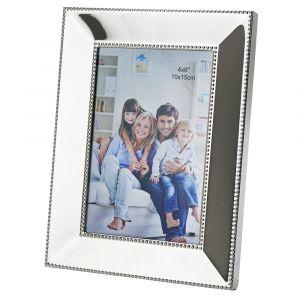 "Modern Designer Polished Nickel Plated 4"" x 6"" Single Picture Frame with Velvet"