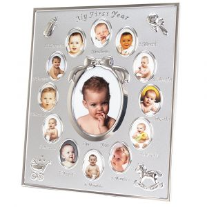 Beautiful My First Year Matt and Nickel Plated Multi Decorative Picture Frame