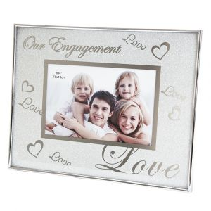 Glitter Effect and Nickel Plated Metal Engagement Picture Frame with Hearts