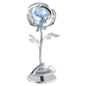 "Modern ""45th Anniversary"" Silver Plated Flower with Blue Swarovski Crystal Bead"
