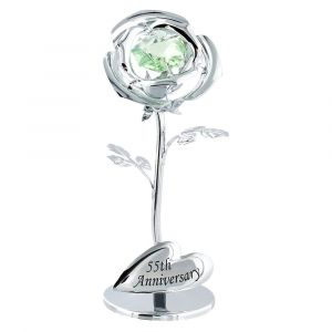 "Modern ""55th Anniversary"" Silver Plated Flower with Green Swarovski Crystal Bead"