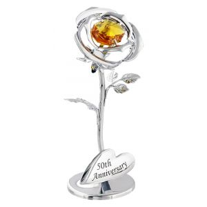 "Modern ""50th Anniversary"" Silver Plated Flower with Gold Swarovski Crystal Glass"