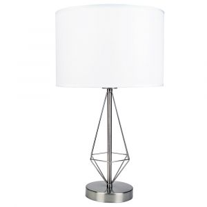 Modern Contemporary Metal Cage Designed Table Lamp in Satin Nickel Plated Finish
