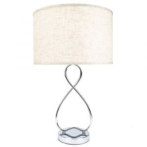 Modern Stylish Large Chrome Plated Table Lamp with Figure of 8 Metal Design