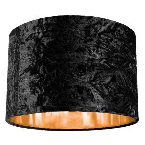 """Modern Black Crushed Velvet 12"""" Table/Pendant Lamp Shade with Shiny Copper Inner"""
