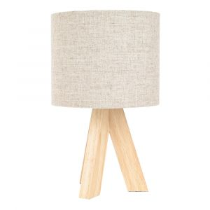 Small Rubber Brown Wood Tripod Table Lamp with Natural Linen Oatmeal Shade