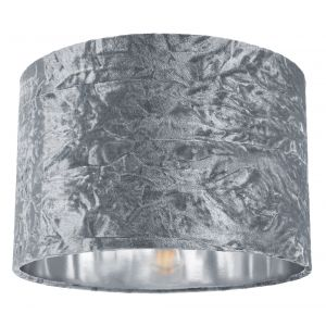 """Modern Silver Crushed Velvet 12"""" Table/Pendant Lampshade with Shiny Silver Inner"""