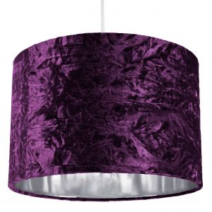 """Modern Purple Crushed Velvet 12"""" Table/Pendant Lampshade with Shiny Silver Inner"""