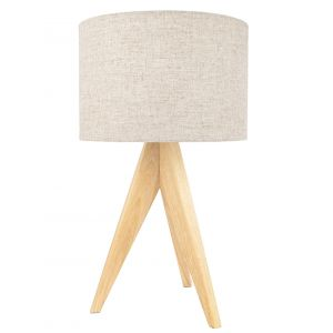 Large Rubber Brown Wood Tripod Table Lamp with Natural Linen Oatmeal Shade