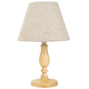 Traditional Rubber Brown Wood Curved Table Lamp with Natural Linen Oatmeal Shade