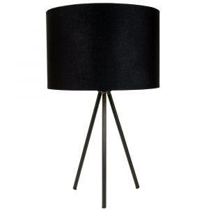 "Modern Matt Black Tripod Table Lamp with 12"" Shade with Shiny Golden Inner"