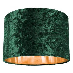 """Modern Green Crushed Velvet 12"""" Table/Pendant Lamp Shade with Shiny Copper Inner"""