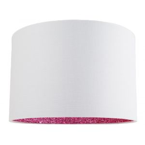 "Modern White Linen Fabric 12"" Table/Pendant Lamp Shade with Pink Glitter Inner"