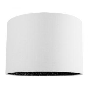 """Modern White Linen Fabric 12"""" Table/Pendant Lamp Shade with Black Glitter Inner"""