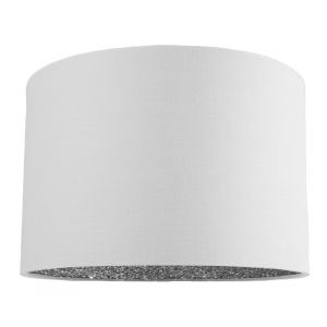 "Modern White Linen Fabric 12"" Table/Pendant Lamp Shade with Silver Glitter Inner"