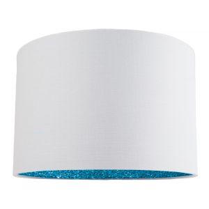"Modern White Linen Fabric 12"" Table/Pendant Lamp Shade with Teal Glitter Inner"