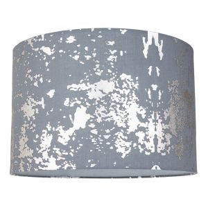 Modern Grey Cotton Fabric Lamp Shade with Silver Foil Decor for Table or Ceiling