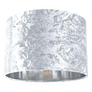 """Modern White Crushed Velvet 12"""" Table/Pendant Lamp Shade with Shiny Silver Inner"""