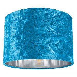 "Modern Teal Crushed Velvet 12"" Table/Pendant Lamp Shade with Shiny Silver Inner"