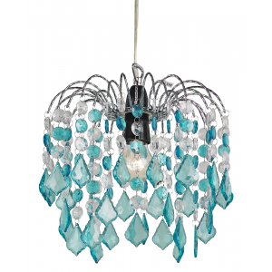 Teal Acrylic Easy Fit Pendant Light Shade with Chrome Metal Frame