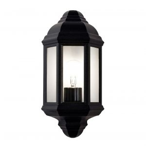 Traditional Outdoor Matt Black Cast Aluminium Flush Wall Lantern Light Fitting