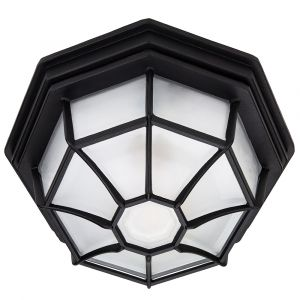 Traditional Hexagonal Matt Black Flush Ceiling Porch Light Fitting with Glass