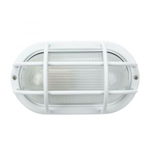 Matt White Cast Aluminium Outdoor Oval Industrial Style Bulkhead Light Fitting