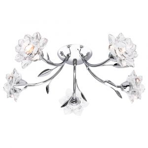 Designer 5 Arm Polished Chrome Ceiling Light Fixture with Floral Glass Shades
