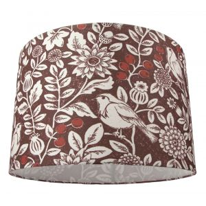 """Autumnal Themed Burgundy 12"""" Lamp Shade with Floral Decoration and Sitting Birds"""