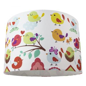 Modern and Quirky Drum Lamp Shade with Floral Decor and Multi-Coloured Chicks