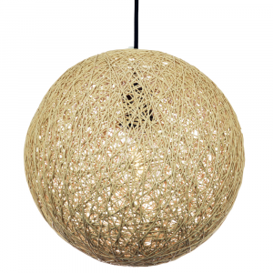 Traditional Round Globe Light Brown Natural Twine Ceiling Pendant Light Shade
