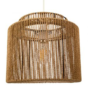 Traditional Vintage Thin Woven Rope Brown Non-Electrical Pendant Light Shade