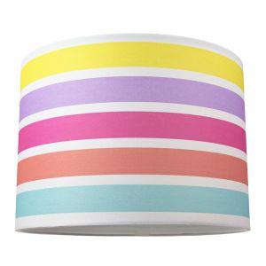 "Modern and Cute Multi Coloured Rainbow Stripe Cotton Fabric Lamp Shade - 10"""