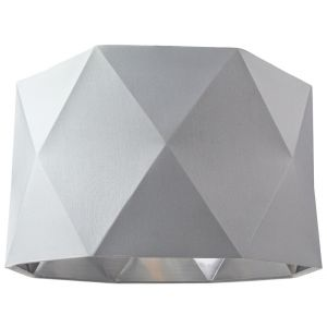 """Grey Cotton 12"""" Geometric Shade with Inner Brushed Silver Metal Effect Lining"""