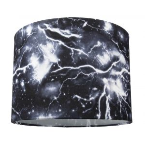 """Striking Black and White Lightning Storm 10"""" Drum Lampshade for Table or Pendant"""