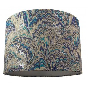 Contemporary and Vivid Peacock Print Table/Pendant Lamp Shade in Soft Cotton
