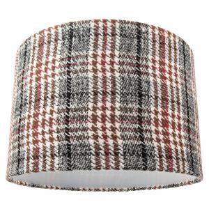 "Vintage Black, Red and Brown Tartan Light Woollen Textured 12"" Drum Lamp Shade"