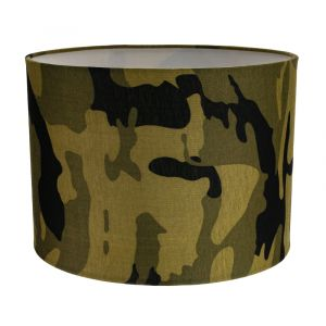 """Stylish Green and Black Army Camouflage Drum 10"""" Lampshade for Table or Pendant"""