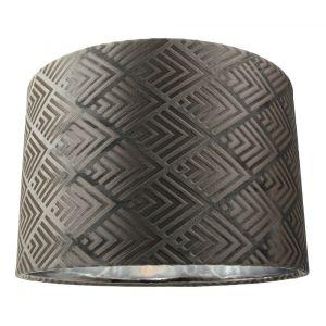"""Modern Designer Grey Velvet 12"""" Table/Pendant Lampshade with Shiny Silver Inner"""
