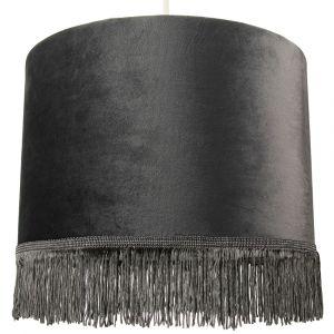 """Modern Sleek Grey Velvet 12"""" Lamp Shade with Satin Silver Inner and Tassels"""