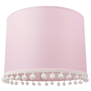 """Cute and Modern Pink Cotton 10"""" Lamp Shade with Small White Woolly Pom Poms"""