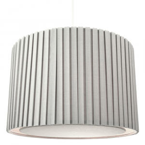 Contemporary Grey Cotton Fabric Pleated Pendant Lamp Shade with Round Diffuser