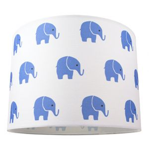 Blue Elephants Children's/Kids White Cotton Fabric Bedroom Lamp or Pendant Shade