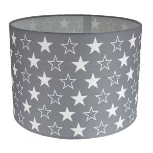 White Stars Children's/Kids Grey Cotton Fabric Bedroom Lamp or Pendant Shade