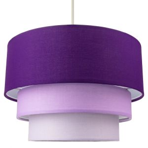 Contemporary Round Triple Tier Purple/Lilac Cotton Fabric Pendant Light Shade