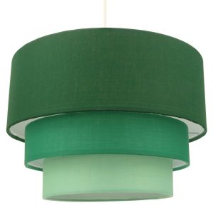 Contemporary Round Triple Tier Forest Green Cotton Fabric Pendant Light Shade