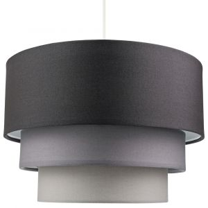 Contemporary Round Triple Tier Soft Grey Cotton Fabric Pendant Light Shade