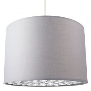 Modern Grey Cotton Fabric Pendant Light Shade with Acrylic Beaded Diffuser Plate